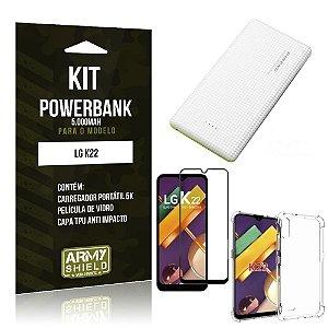 Kit Carregador Portátil 5K LG K22 + Capa Anti Impacto +Película Vidro 3D - Armyshield