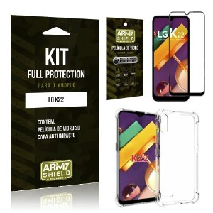 Kit Full Protection LG K22 Película de Vidro 3D + Capa Anti Impacto - Armyshield