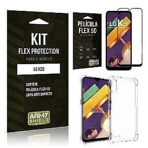Kit Nano Flex Protection LG K22 Capa Anti Impacto + Película Flex 5D - Armyshield