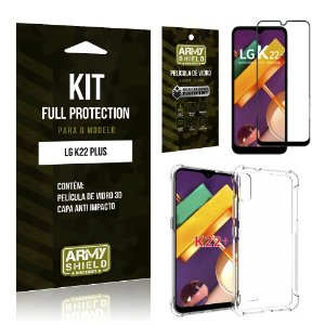 Kit Full Protection LG K22 Plus Película de Vidro 3D + Capa Anti Impacto - Armyshield