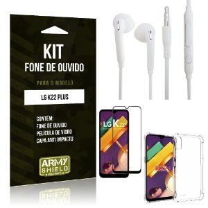 Kit Fone de Ouvido LG K22 Plus + Capa Anti Impacto + Película Vidro 3D - Armyshield
