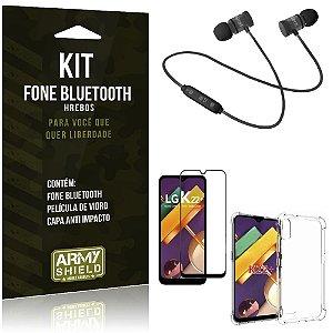 Kit Fone Bluetooth LG K22 Plus + Capa Anti Impacto + Película Vidro 3D - Armyshield
