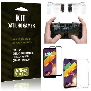 Kit Gatilho Gamer LG K22 Plus Gatilho + Capa Anti Impacto + Película Vidro 3D - Armyshield