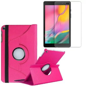 Capa Giratória Pink + Película de Vidro Blindada Samsung Galaxy Tab A 8.0' T290 T295 - Armyshield
