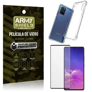Kit Anti Impacto Galaxy S10 Lite Capinha Anti Impacto + Película de Vidro 3D - Armyshield