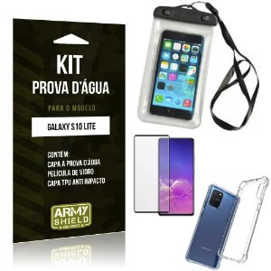 Kit Prova D'água Galaxy S10 Lite Capinha Prova D'água +Capa Anti Impacto +Película 3D - Armyshield