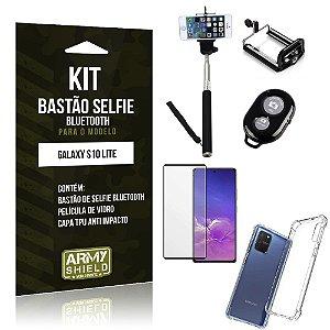 Kit Bastão de Selfie Bluetooth Galaxy S10 Lite +Capinha Anti Impacto +Película Vidro 3D - Armyshield