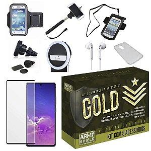 Kit Gold Galaxy S10 Lite com 6 Acessórios + Capa e Película 3D- Armyshield