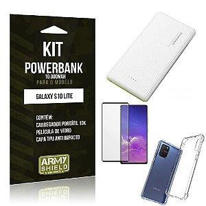 Kit Carregador Portátil 10K Tipo C Galaxy S10 Lite +Capa Anti Impacto +Película Vidro 3D -Armyshield