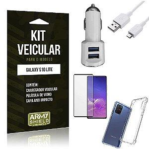 Kit Carregador Veicular Tipo C Galaxy S10 Lite + Capa Anti Impacto + Película Vidro 3D - Armyshield