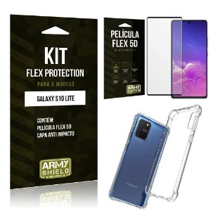 Kit Flex Protection Galaxy S10 Lite Capa Anti Impacto + Película Flex 5D - Armyshield