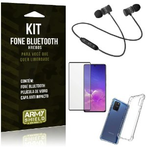 Kit Fone Bluetooth Galaxy S10 Lite + Capa Anti Impacto + Película Vidro 3D - Armyshield