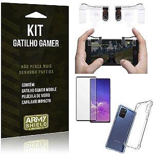 Kit Gatilho Gamer Galaxy S10 Lite Gatilho + Capa Anti Impacto + Película Vidro 3D - Armyshield