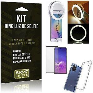 Kit Flash Ring Galaxy S10 Lite Flash Ring + Capa Anti Impacto + Película de Vidro 3D - Armyshield