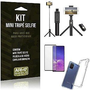 "Kit Mini Tripe Selfie Bluetooth para S10 Lite 6,7"" + Capa + Película 3D"