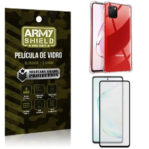 Kit Anti Impacto Galaxy Note 10 Lite Capinha Anti Impacto + Película de Vidro 3D - Armyshield