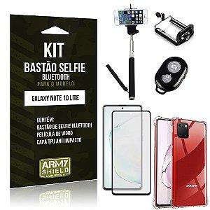 Kit Bastão de Selfie Bluetooth Galaxy Note 10 Lite +Capa Anti Impacto +Película Vidro 3D -Armyshield