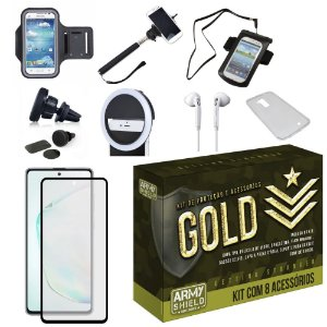 Kit Gold Galaxy Note 10 Lite com 8 Acessórios - Armyshield
