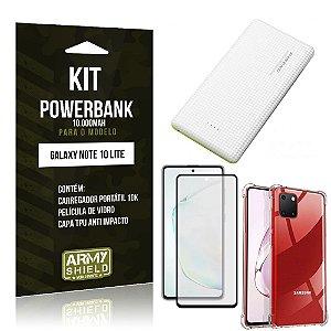 Kit Carregador Portátil 10K Tipo C Galaxy Note 10 Lite +Capa Anti Impacto +Película 3D -Armyshield
