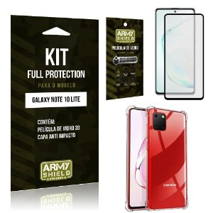 Kit Full Protection Galaxy Note 10 Lite Película de Vidro 3D + Capa Anti Impacto - Armyshield