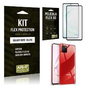 Kit Flex Protection Galaxy Note 10 Lite Capa Anti Impacto + Película Flex 5D - Armyshield