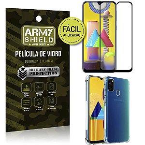 Kit Película 3D Fácil Aplicação Galaxy M31 Película 3D + Capa Anti Impacto - Armyshield