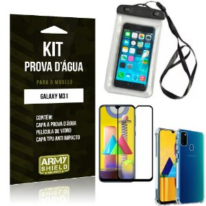 Kit Prova D'água Galaxy M31 Capinha Prova D'água +Capa Anti Impacto +Película 3D - Armyshield