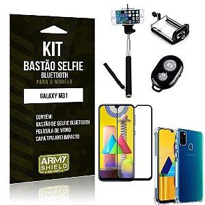 Kit Bastão de Selfie Bluetooth Galaxy M31 +Capinha Anti Impacto +Película Vidro 3D - Armyshield