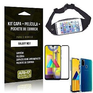 Kit Pochete Galaxy M31 Pochete + Capinha Anti Impacto + Película de Vidro 3D - Armyshield