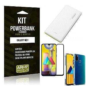 Kit Carregador Portátil 5K Tipo C Galaxy M31 + Capa Anti Impacto +Película Vidro 3D -Armyshield