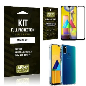 Kit Full Protection Galaxy M31 Película de Vidro 3D + Capa Anti Impacto - Armyshield