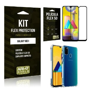 Kit Flex Protection Galaxy M31 Capa Anti Impacto + Película Flex 5D - Armyshield