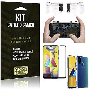 Kit Gatilho Gamer Galaxy M31 Gatilho + Capa Anti Impacto + Película Vidro 3D - Armyshield