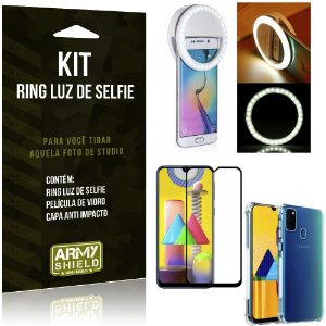 Kit Flash Ring Galaxy M31 Flash Ring + Capa Anti Impacto + Película de Vidro 3D - Armyshield