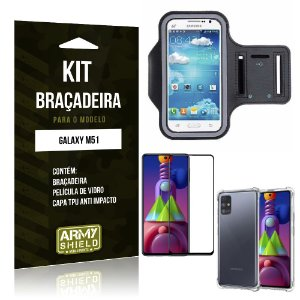 Kit Braçadeira Galaxy M51 Braçadeira + Capinha Anti Impacto + Película de Vidro 3D - Armyshield