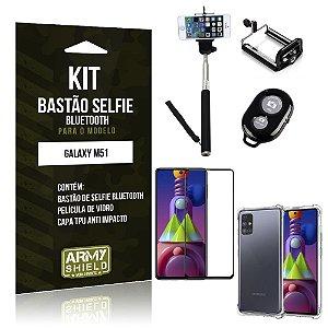 Kit Bastão de Selfie Bluetooth Galaxy M51 +Capinha Anti Impacto +Película Vidro 3D - Armyshield