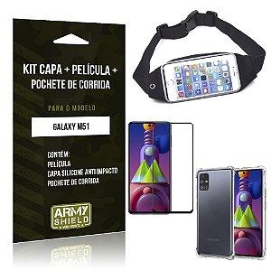 Kit Pochete Galaxy M51 Pochete + Capinha Anti Impacto + Película de Vidro 3D - Armyshield