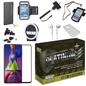 Kit Platinum Galaxy M51 com 8 Acessórios + Carregador Portatil 10k Tipo C - Armyshield