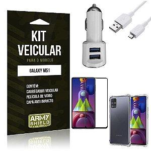 Kit Carregador Veicular Tipo C Galaxy M51 + Capa Anti Impacto + Película Vidro 3D - Armyshield