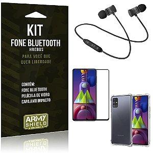 Kit Fone Bluetooth Galaxy M51 + Capa Anti Impacto + Película Vidro 3D - Armyshield