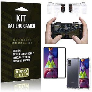 Kit Gatilho Gamer Galaxy M51 Gatilho + Capa Anti Impacto + Película Vidro 3D - Armyshield