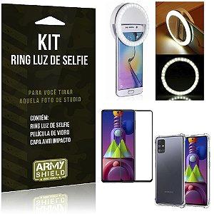 Kit Flash Ring Galaxy M51 Flash Ring + Capa Anti Impacto + Película de Vidro 3D - Armyshield
