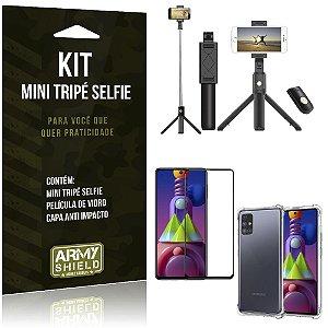 "Kit Mini Tripé Selfie Bluetooth para Galaxy M51 6,67"" + Capa + Película 3D"