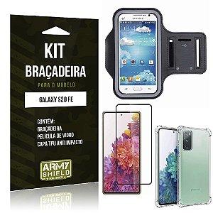 Kit Braçadeira Galaxy S20 FE Braçadeira + Capinha Anti Impacto + Película de Vidro 3D - Armyshield