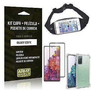 Kit Pochete Galaxy S20 FE Pochete + Capinha Anti Impacto + Película de Vidro 3D - Armyshield