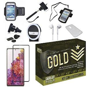 Kit Gold Galaxy S20 FE com 6 Acessórios + Capinha + Pelicula 3D - Armyshield