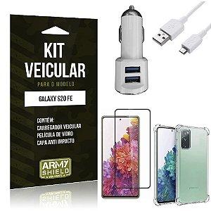 Kit Carregador Veicular Tipo C Galaxy S20 FE + Capa Anti Impacto + Película Vidro 3D - Armyshield