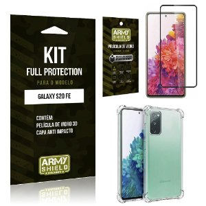 Kit Full Protection Galaxy S20 FE Película de Vidro 3D + Capa Anti Impacto - Armyshield