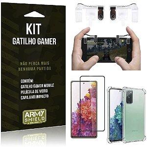 Kit Gatilho Gamer Galaxy S20 FE Gatilho + Capa Anti Impacto + Película Vidro 3D - Armyshield