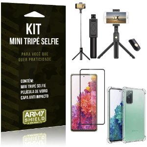 "Kit Mini Tripé Selfie Bluetooth para Galaxy S20 FE 6,5"" + Capa + Película 3D"
